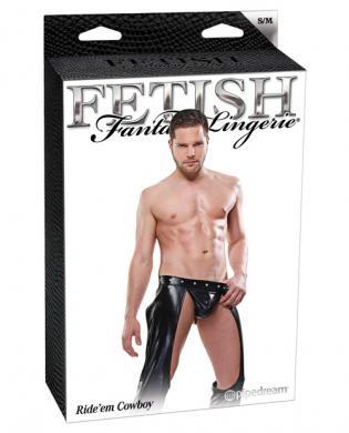 Fetish fantasy lingerie ride'em cowboy assless chaps w/jockstrap - black s/m