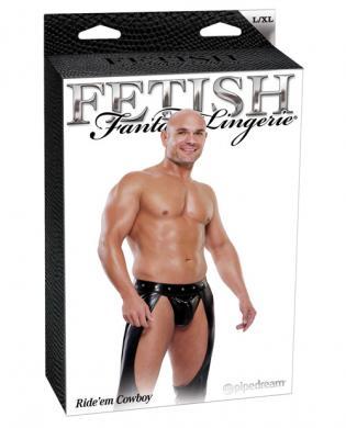 Fetish fantasy lingerie ride'em cowboy assless chaps w/jockstrap - black l/xl