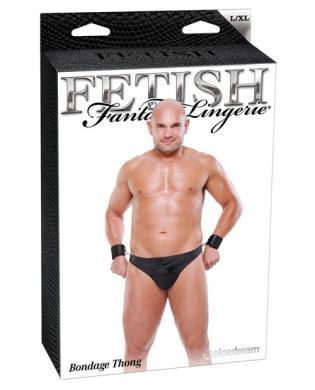 Fetish fantasy lingerie bondage thong w/cuffs black l/xl