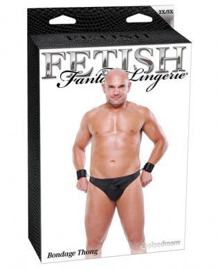 Fetish fantasy lingerie bondage thong w/cuffs - black 2x/3x