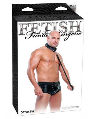 Fetish fantasy lingerie slave set w/briefs, collar, and leash - black 2x/3x
