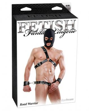 Fetish fantasy lingerie road warrior kit w/hood, cuffs, chest and waist harness black s/m