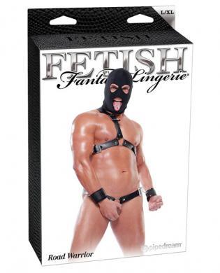 Fetish fantasy lingerie road warrior kit w/hood, cuffs, chest and waist harness black l/xl
