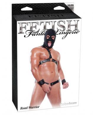 Fetish fantasy lingerie road warrior kit w/hood, cuffs, chest and waist harness - black 2x/3x