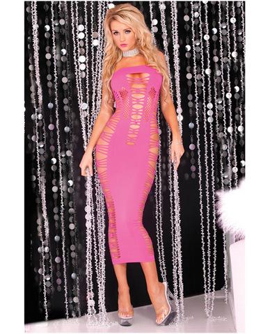 Pink lipstick seamless slit tube dress pink o/s