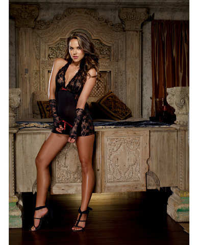 Microfiber halter chemise w/stretch lace, thong and fingerless glove restraints black o/s