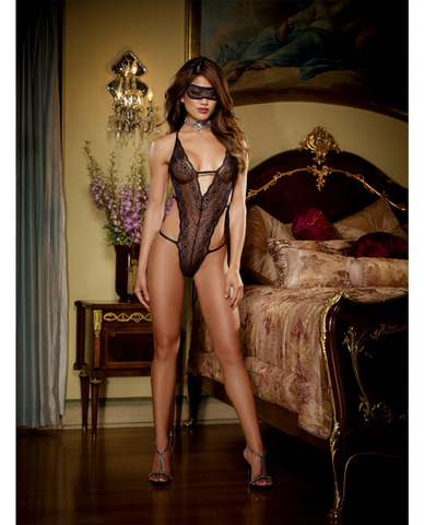 Stretch lace halter teddy w/strappy back panty detail and lace eye mask black o/s