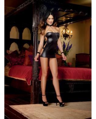 Shiny stretch knit strapless dress w/g-string and neck collar w/attached chain wrist cuffs black o/s