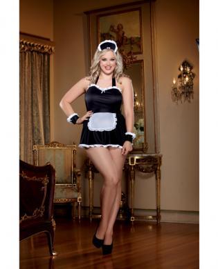 4pc Maid Me Dirty Apron, Cap, French Cuffs, Panty - Black/White-  QN