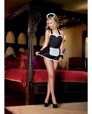 4pc Maid Me Dirty Apron, Cap, French Cuffs, Panty - Black/White O/S