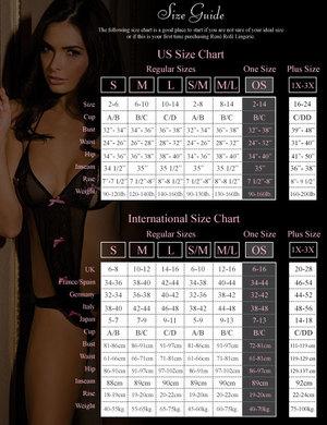 Rene rofe lace mesh bra and g-string w/garters black m/l