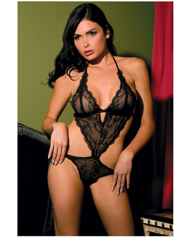 Rene rofe lace front tie back teddy black o/s