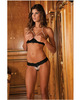 Pearl Necklace Bra and G-String Set Black S/M