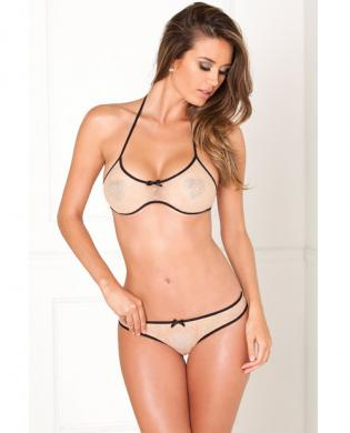 Rene rofe 2pc bra set w/shiny hearts nude m/l