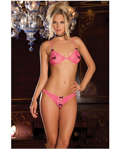 Rene rofe lace peek-a-boo and crotchless thong pink s/m