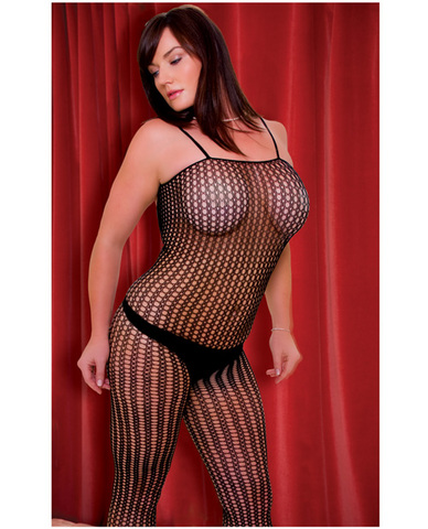 Rene Rofe Quarter Crochet Net Bodystocking Black OQ
