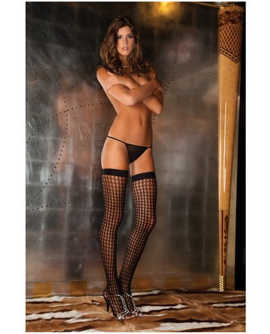 Rene rofe quarter crochet net thigh high black o/s