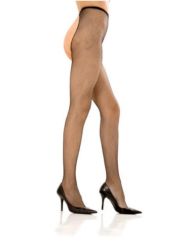 Rene Rofe Crotchless Fishnet Pantyhose Black O/S