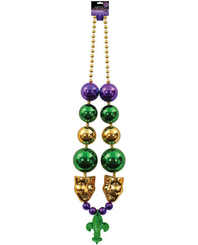 Night to remember jumbo mardi gras beads w/gold mask - multi color by sassi girl