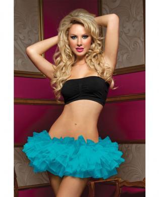 Tiered multi layer tulle tutu w/elastic waistband blue o/s