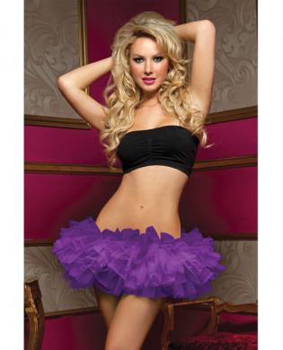 Tiered multi layer tulle tutu w/elastic waistband purple o/s