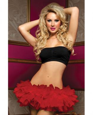 Tiered multi layer tulle tutu w/elastic waistband red o/s