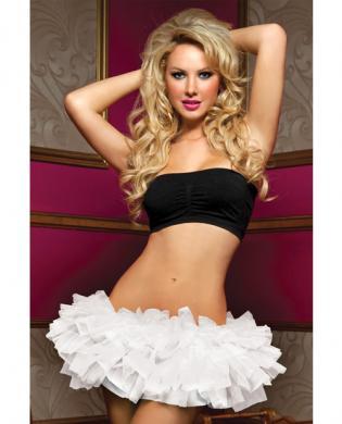 Tiered multi layer tulle tutu w/elastic waistband white o/s