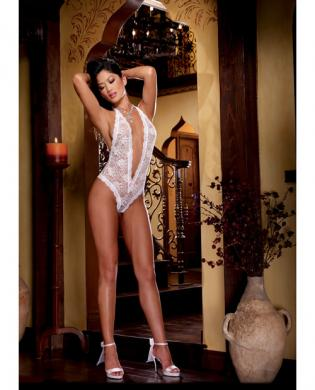 Halter stretch lace teddy w/plunging neckline, halter ties and heart cut out on back white o/s