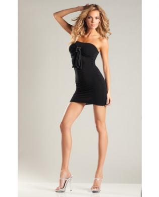 Opaque Tube Dress w/Buckle Black O/S