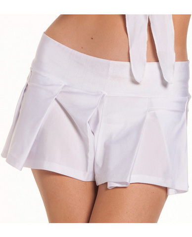 Solid color pleated school girl skirt white m/l