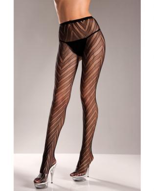 Lycra Lace Pantyhose Black O/S