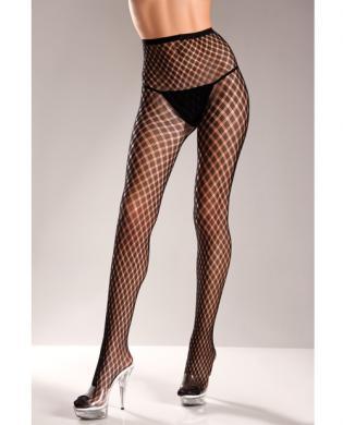Spandex Pantyhose w/Weave Design Black O/S