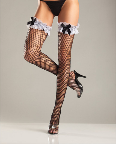 Spandex diamond net thigh high w/wide ruffle lace top and satin bow black o/s