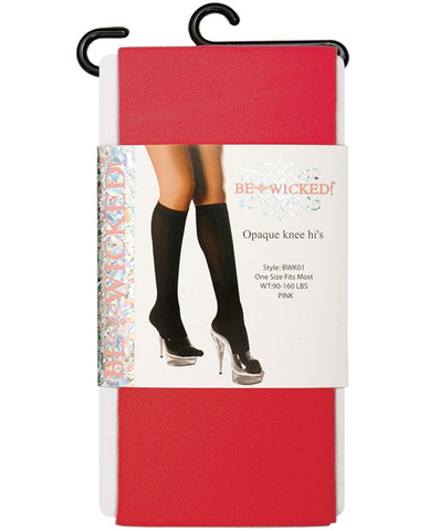 Opaque knee highs red o/s