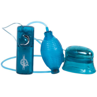 Pucker Up Vibrating Clitoral & Vaginal Pump Blue