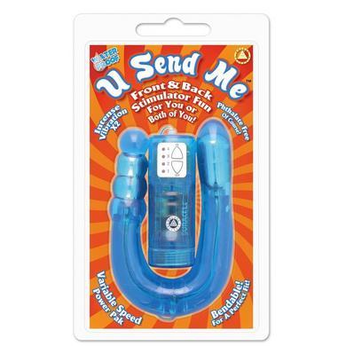 U Send Me Front and Back Blue Vibrator