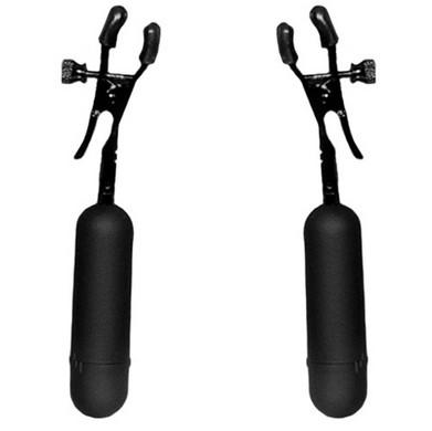 Cordless Vibrating Nipple Clamp Black Adjustable