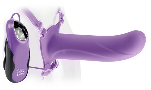 Fetish Fantasy Elite 6 inches Vibrating Hollow Strap On Purple