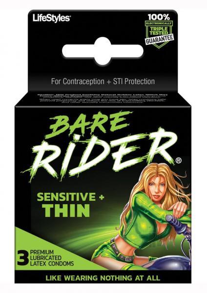 Bare Rider Thin Latex Condoms 3 Pack