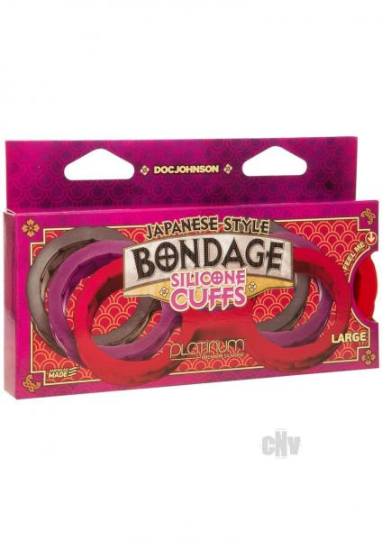 Japanese Bondage Silicone Cuffs Large Red