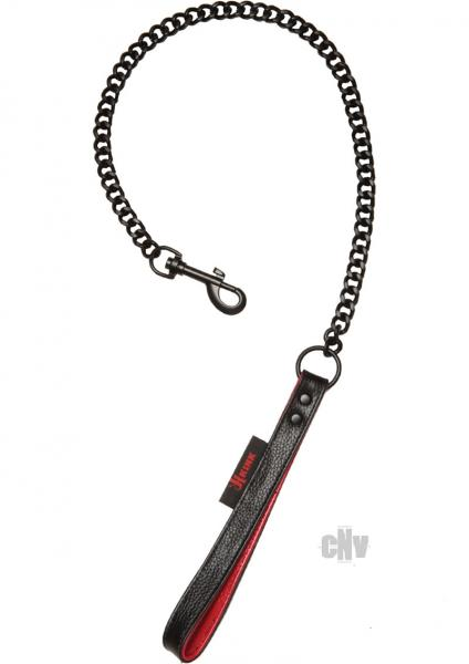 Kink Leather Handlers Leash Black, Red