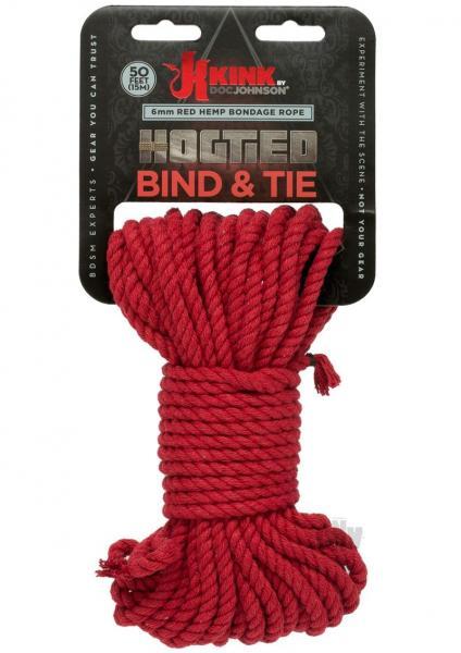 Kink Hogtied Bind & Tie Hemp Bondage Rope 50ft Red