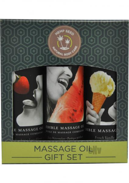Massage Oil Edible Gift Set 3 Flavors