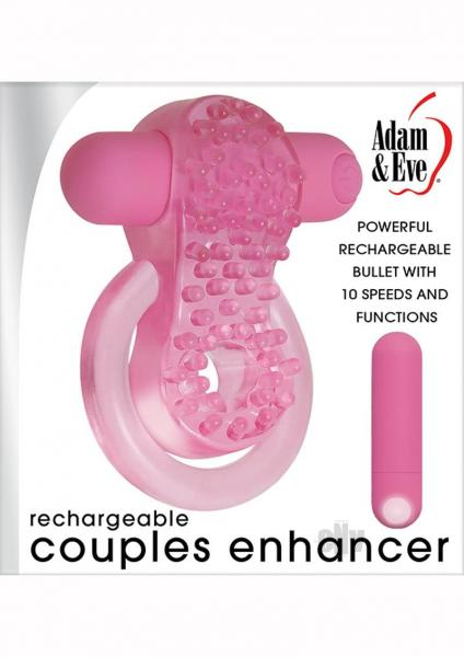Rechargeable Couples Enhancer Pink Vibrating Ring