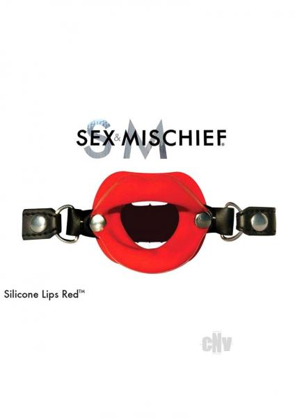 Sex and Mischief Silicone Lips Red Mouth Gag