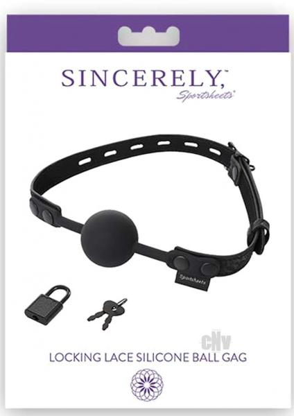 Sincerely Locking Lace Ball Gag Black O/S