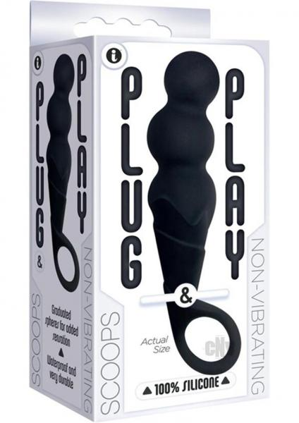 Plug And Play Silicone Scoops Black Anal Probe