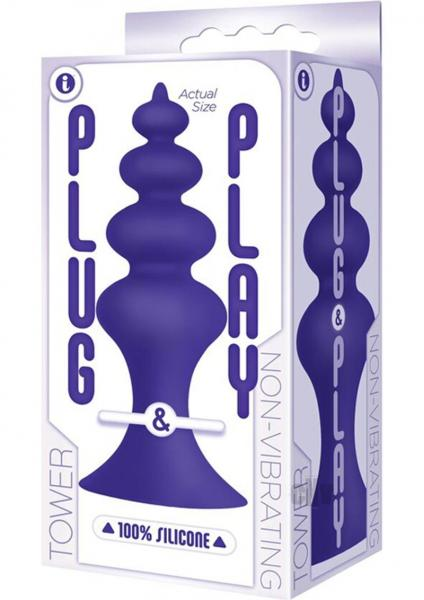 Plug And Play Silicone Tower Plum Purple Anal Probe