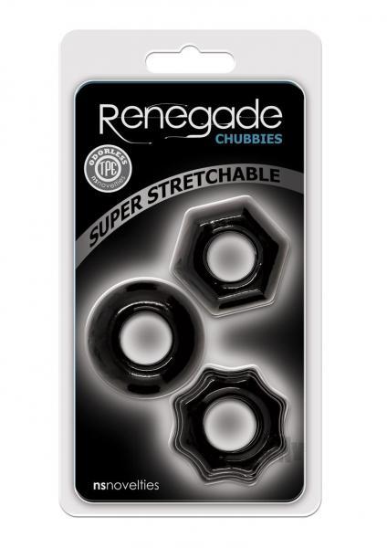 Renegade Chubbies 3 Pack Cock Rings Black