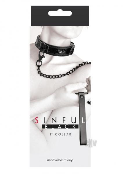 Sinful 1 inch Collar & Leash Black